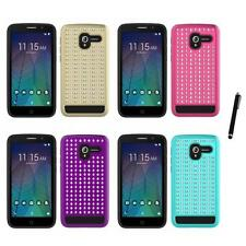 For Alcatel Stellar Hybrid Diamond Bling Stud Studded Case Stylus Pen