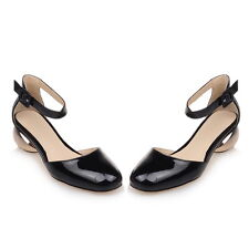 Synthetic Patent Leather Med Heel Mary Jane Lady's Shoes Sandals AU Size s009