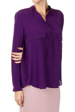 STELLA MCCARTNEY New woman purple Silk Buttons long sleeve Blouse NWT