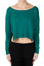 PRADA New Woman BLUE PAVONE scoop Neck Cashmere Sweater Pullover Made in ITaly