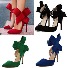 Sexy Women's Big Bowknot High Heels Ankle Stilettos Wedding Pointy Toe Shoes