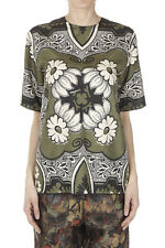 VALENTINO Women Green Patterned Silk T-Shirt Made in Italy New with Tag