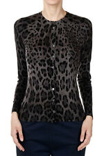 DOLCE & GABBANA Women Leopard Print Virgin Wool Cardigan Sweater Made in Italy