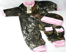 MOSSY OAK CAMO & PINK BABY INFANT SNAP UP DIAPER SHIRT SLEEPER GIFT SET - GIRL
