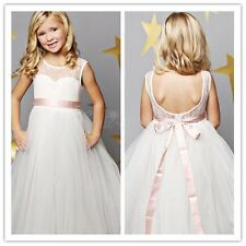 New Flower Girl Dress Princess Vintage Special Occasion Party Wedding WHITE LACE