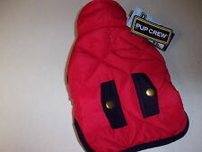 Red Quilted Navy Trim Pocket Jacket Dog XXS XS New pet petco Pup Crew coat puppy