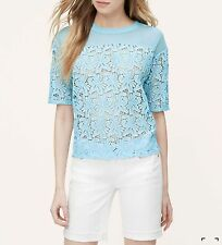 NWT ANN TAYLOR LOFT Dream Blue Irresistible Lace Blossom Tee Top Size S