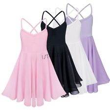 Kids Girls Chiffon Ballet Dancer Leotard Dress Gymnastics Dancewear Costume
