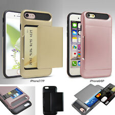Credit Card Pocket Slim Slide Hybrid ShockProof Wallet Case for iPhone 6s 7 Plus
