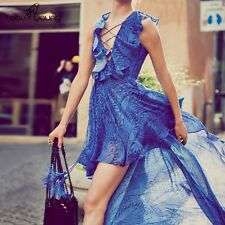 Women Ruffle Pleated Mermaid Chiffon Dress Long Gown Party Cocktail Evening Prom