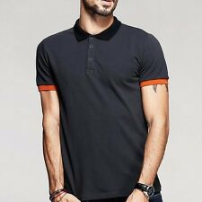 Mens Casual Polo T-Shirt Short Sleeve Lapel Solid Basic Tee Cotton Gray M ~ 2XL