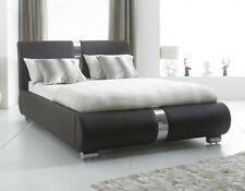Black / chrome Designer Faux Leather bed 4FT6 Double 5FT Kingsize With Mattress