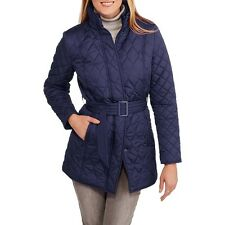 Women's Belted Quilted Jacket Puffer Coat Snow Winter Warm Long Lining Zip Size