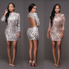 Sexy Women Long Sleeve Paillette Backless Bodycon Clubwear Cocktail Party Dress