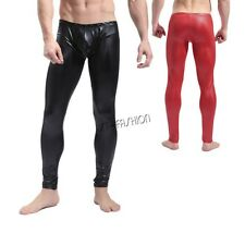 Hot Sexy Mens Wet Look Stretch Long Johns Underwear Leggings Pants Trousers
