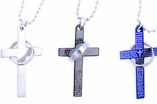 Unique Titanium Stainless*Steel Cross Lord's Prayer and Halo Ring Necklace Funny