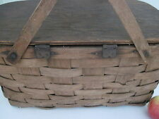 OLD ANTIQUE PRIMITIVE WOOD SPLINT WOVEN PICNIC BASKET HINGED LID GREAT PATINA