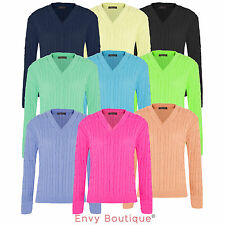 Womens Ladies Chunky Cable Knitted Jumper Long Sleeve Top Knitwear Knit Sweater