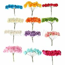 144pcs Mini Cute Paper Rose Bud Flower Party Wedding Card Decoration Artificial