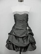 dress190 GREY SATIN STRAPLESS SPARKLE PROM COCKTAIL BALL EVENING DRESS SIZE 8-22