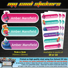 Large Personalised Kids Name Labels for Girls, stickers, school, toys, trolls