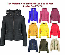 Kids & Ladies Padded Quilted Warm Thick Puffer Bubble Fur Collar Jacket Coat 363