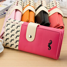 Fashion Moustache Long Design Pu Leather Women Wallets Hasp Purse Handbags 1 Pcs
