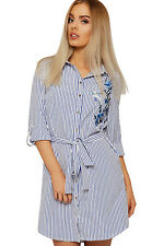 Womens Striped Shirt Dress Top Ladies Floral Bird Print Collar Button Belted New