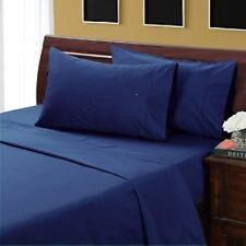 NAVY BLUE SOLID BED SHEET SET 800 TC 100% EGYPTIAN COTTON SELECT YOUR SIZE