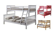 Solid Pine Wooden Triple sleeper bunk bed White Pink Natural Pine With Mattress