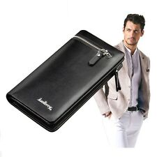 Mens Leather Zipper ID Money Credit Card Holder Clutch Wallet Bifold Long Purse