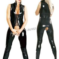 Sexy Womens PVC Leather Bodysuit Open Crotch Party Catsuit Costume Lingerie