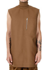 RICK OWENS New men Long Sleeveless Top SPHINX TUNIC  Mustard Made in Italy