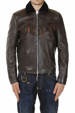 DSQUARED DSQUARED2 Men Leather Jacket Brown with Fur Neck Original New