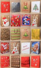 PACK OF 5, 10, 15, 20 ASSORTED LARGE CHRISTMAS XMAS GIFT BAGS: KRAFT & GLOSSY