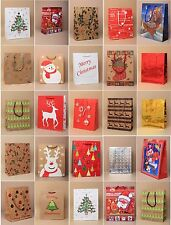 PACK OF 5, 10, 15, 20 ASSORTED MEDIUM CHRISTMAS XMAS GIFT BAGS: KRAFT & GLOSSY