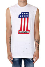 DSQUARED2 New Men White Sleeveless Printed tee T-shirt cotton Made in Italy NWT