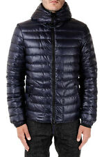 DUVETICA New Men Blue Down Padded Coat LAIO Nylon Zipped Jacket Hooded NWT