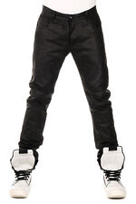 RICK OWENS New Men Black Leather DETROIT CUT Trouser Pants  NWT