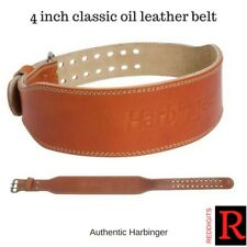 "New Harbinger 4"" Classic Oiled Leather Weight Lifting Belt - Brown 272"