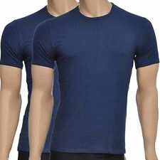 Calvin Klein Mens CK One Short Sleeved Round Crew Neck T-Shirt 2-Pack, Blue Tee
