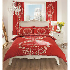 French Script Duvet Cover - Reversible Bedding Printed Beige & Red Bed Set