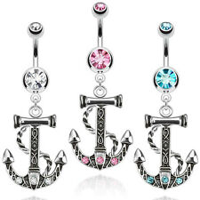 Gemmed Anchor Nautical Dangle Navel Belly Ring Vanzy Body Jewelry Piercing