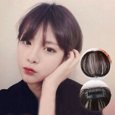 Thin Neat Air Bangs 100% Hair Extension Clip In Natural Fringe Front Hairpiece