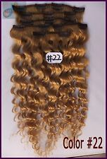 #22 Blonde 280g Curly Wavy Weaving Clip In Real Human Hair Extensions Wavy Hair
