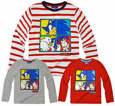 Boys Sonic The Hedgehog Top New Kids Long Sleeved Cartoon T-Shirt 3-8 Years