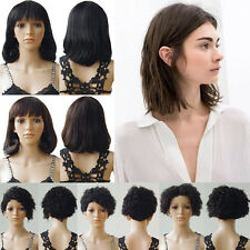 100% Real Human Hair Wigs Women's Short Full Wig Hairpiece Curly Straight Bob 03