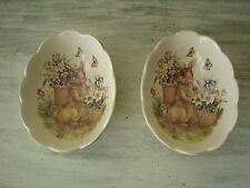 Cracker Barrel Easter Treasures Small Bowls With Rabbit Set Of 2 New Old Stock