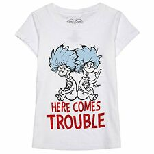 "NWT Dr. Seuss Toddler Girls ""Thing 1 & Thing 2 - Here Comes Trouble"" Tee - 4T&5T"