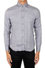 CORNELIANI ID New Men Black White Cotton Buttons Shirt Made in Italy NWT